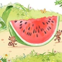 Ants Moving a Watermelon